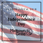 Happy Independence Day – Closed July 4, 2018