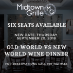NEW DATE: Old World vs New World Wine Dinner on Thursday, September 20