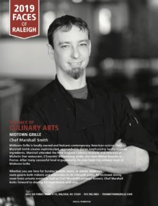 Chef Marshall Smith featured in Midtown Magazine's Faces of Raleigh 2019