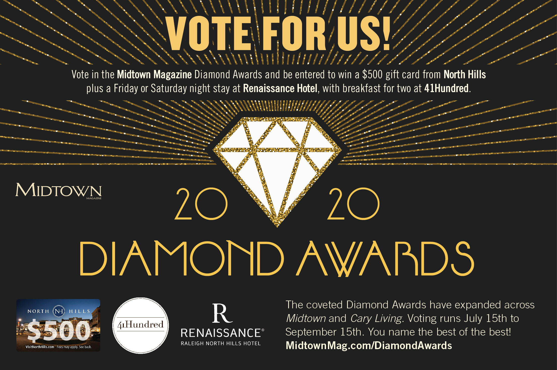 t's time again for the Diamond Awards hosted by Midtown Magazine! Cast your vote between now and Monday, September 16, 2019, for the Best of the Best in Raleigh including Downtown, North Hills, North Raleigh, and all of the metro Raleigh area! If you have joined us for lunch, dinner, drinks, or Sunday brunch lately, and enjoyed your experience, we would love it if you would vote for Midtown Grille in the 2020 Diamond Awards.