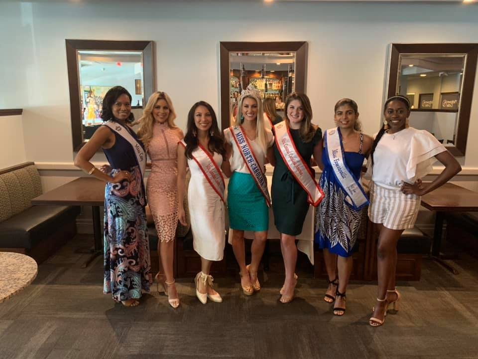 Miss NC and this year's Miss NC contestant's lunching at Midtown Grille.